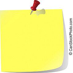noter papier, goupillé, jaune, canari
