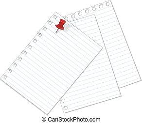 noter papier, isolé, blanc
