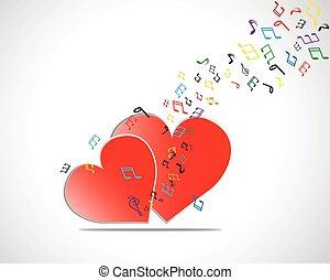 noterar., hjärta, valentinkort, illustration, vektor, musik, dag, kort, lycklig