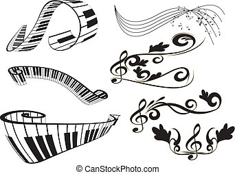 notere, piano nøgle, klaviatur