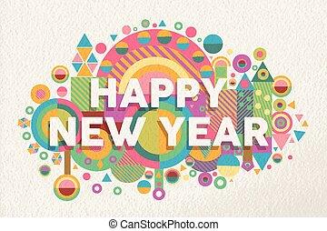 noteren, poster, illustratie, jaar, 2015, nieuw, vrolijke