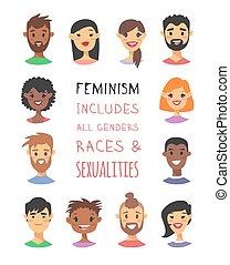 noteren, vector, mensen, kaukasisch, text., amerikaan, stijl, mannen, groep, races., spotprent, vrouwen, aziaat, set, afrikaan, anders, illustratie, karakters
