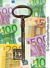 noteringen, bank, nyckel, euro