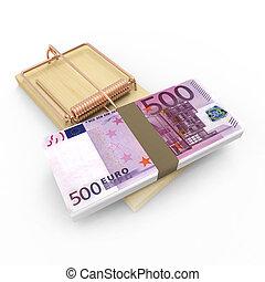noteringen, euro, musfälla, bank, 3