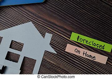 noteringen, foreclosed, text, desk., huvudkontor, skriva, ...