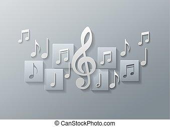 noteringen, musik, bakgrund