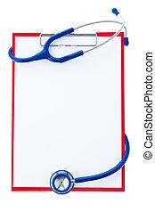 noteringen, skrivplatta, stetoskop