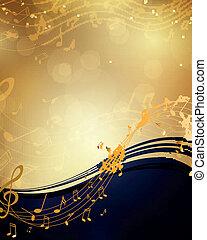 noteringen, vektor, musik, bakgrund