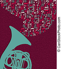 notes, éclaboussure, musique, tuba, illustration