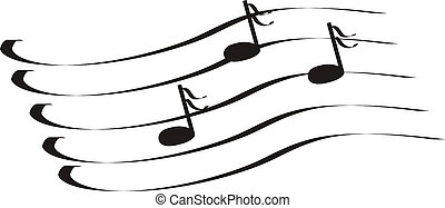 Musical notes a treble clef an illustration, a vector, figure
