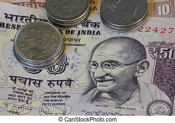 Indian rupees - notes and coins of Indian rupees detail with...