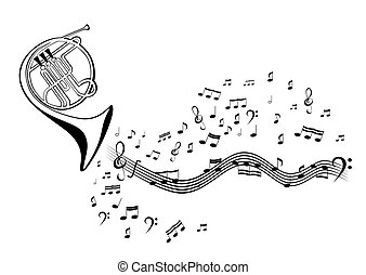 Notes and french horn - Abstract vector image French horn ...