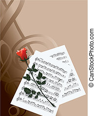 notes and rose