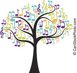notes, arbre, musical