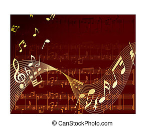 notes background - Vector musical notes staff background for...