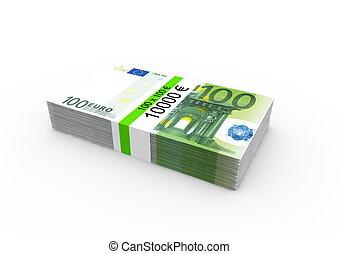 notes, banque, 100, paquet, euro