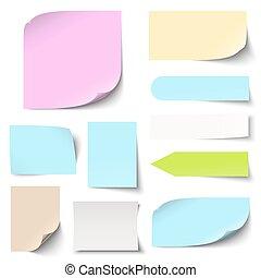notes, coloré, collection, collant