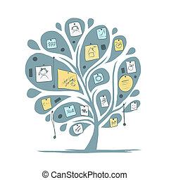 notes, conception, résumé, arbre, ton