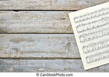 notes, copie, feuilles, space., musical