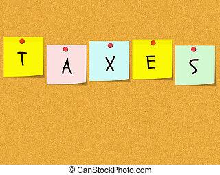 notes, corkboard, impôts, collant