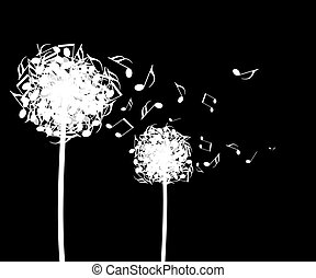Notes - Dandelion flower from which from a wind notes fly