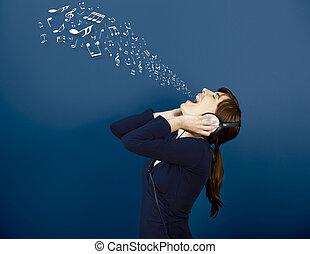 notes, dehors, bouche, musical, obtenir