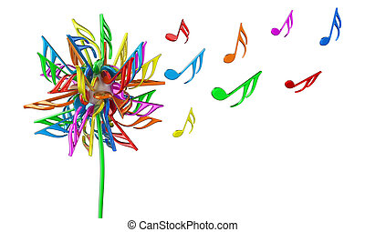 Notes - Illustration of dandelion flower with multicoloured...