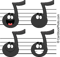 notes, ensemble, musique, dessin animé