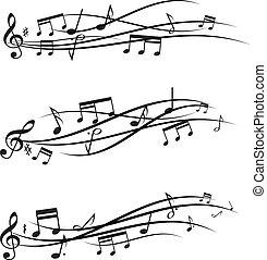 notes, ensemble, musique