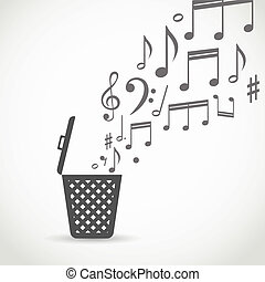 Notes flowing into a garbage basket