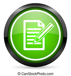 notes green glossy icon on white background