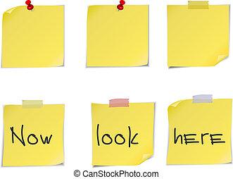 notes, il, jaune, isolé, arrière-plan., poste, blanc