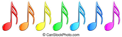 Notes - Illustration of multicoloured notes on a white ...