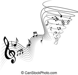 Illustration of black and white notes and sheet music spiraling into a tornado, on a white background