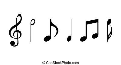 notes., isolé, blanc, arrière-plan., musique, illustration, icônes, plat, vecteur
