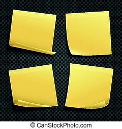 notes, isolé, jaune, collant, vecteur, fond, transparent