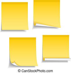 notes, jaune, collant
