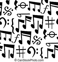 Notes music melody colorfull musician symbols sound melody text writting audio symphony vector illustration. Music sign elements seamless pattern background