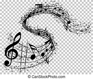 notes, musical, fond