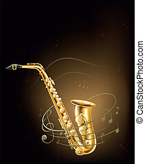 notes musicales, saxophone