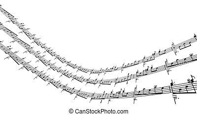 notes, musique, 3d