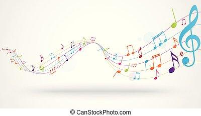 notes, musique, coloré, fond