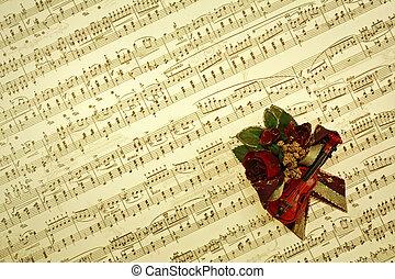 notes, musique, fond