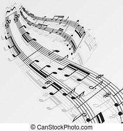 notes, musique, fond, vague