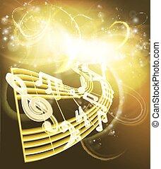 notes, musique, musical, fond