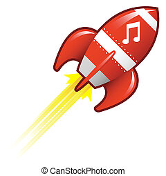 notes, musique, retro, fusée