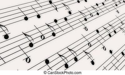 notes, musique, rouleau, boucle