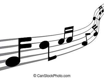 notes, musique, (vector)