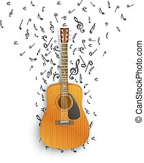 Notes off of the guitar. Vector illustration