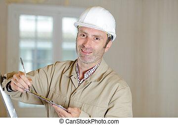 notes, ouvrier, presse-papiers, construction, prendre
